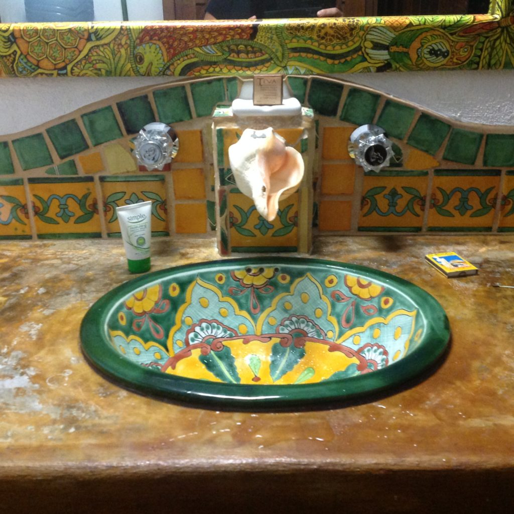 Mayan Beach Garden Mahahual sink with conch faucet