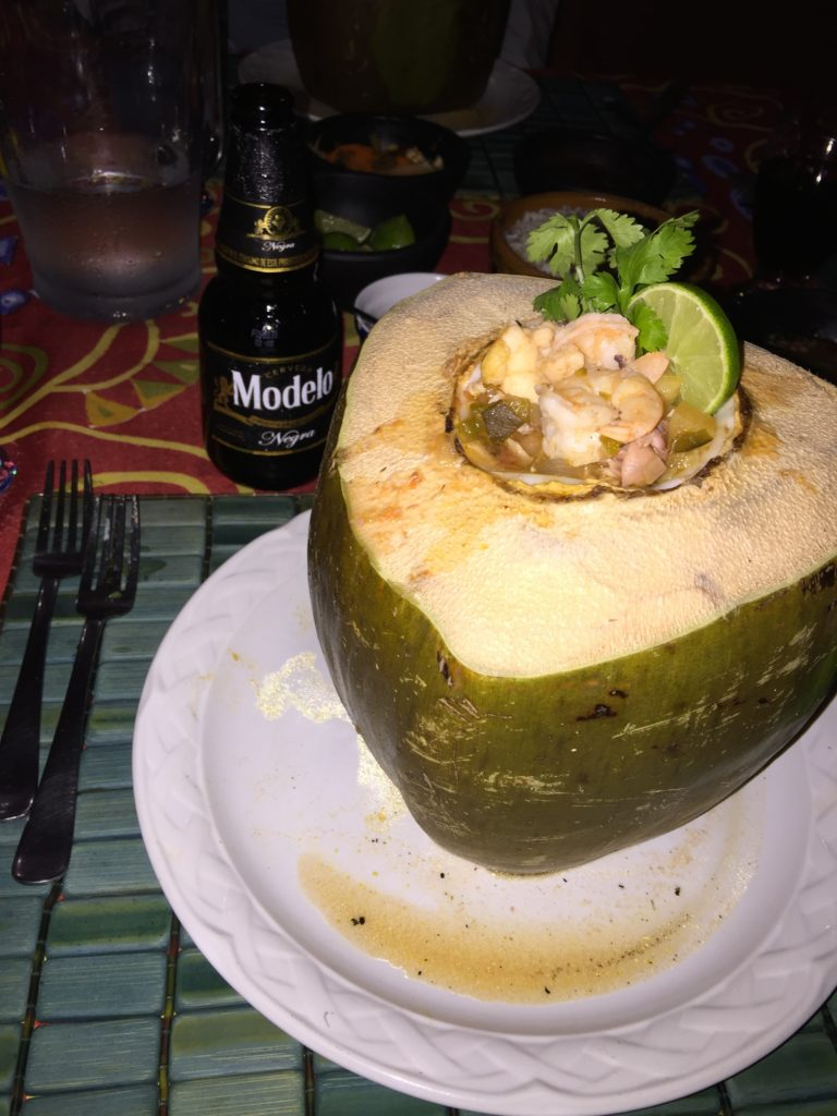 Mayan Beach Garden Mahahual meal in a coconut