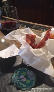 French Quarter  wine glass and bacon strips