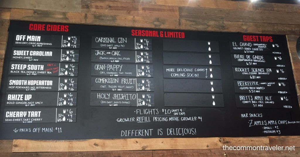 Bull City Ciderworks Cider flavors on a board