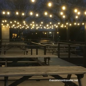 Ponysaurus Brewing tables and lights on deck