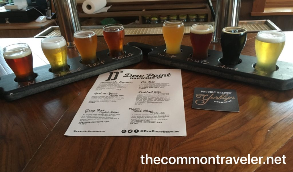 Dew Point Brewing beer flights at Dew Point Brewing
