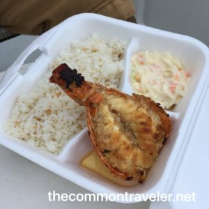 The Best Restaurants in San Pedro Belize featured by top travel blog, The Common Traveler: Grilled lobster tail with rice and coleslaw