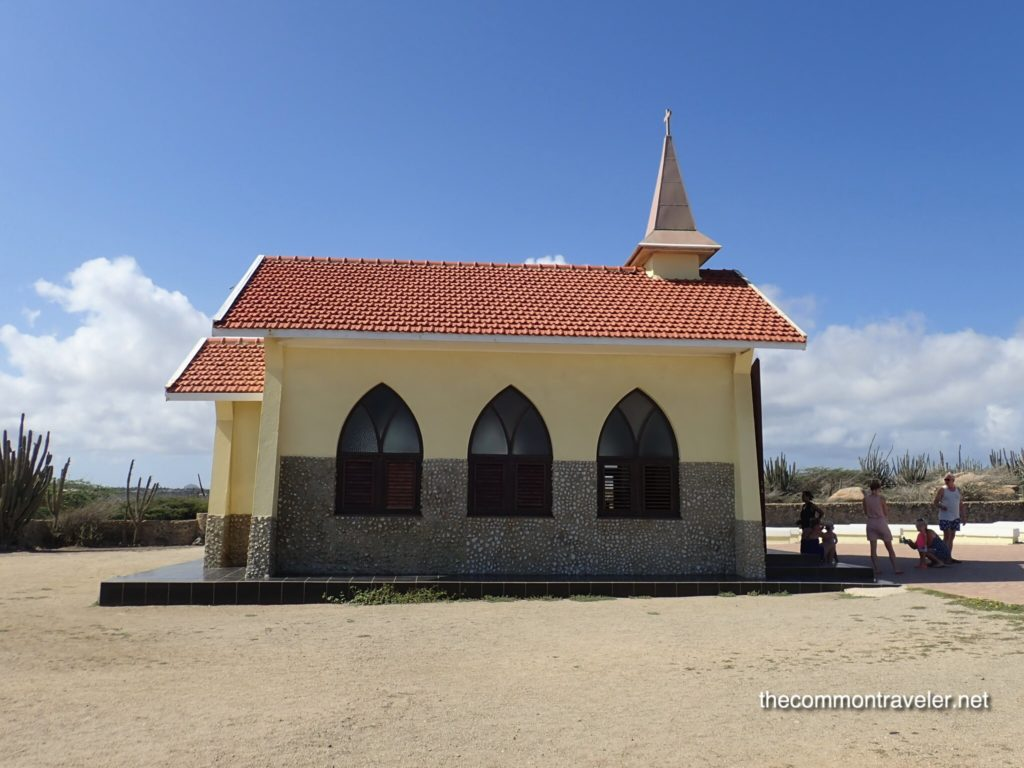 Aruba Sightseeing tips featured by top travel blog, The Common Traveler: Yellow chapel in Aruba
