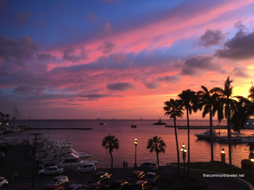 Best Honeymoon destinations in 2020 featured by top travel blog, The Common Traveler: image of  Sunset from Renaissance Marina Hotel in Aruba