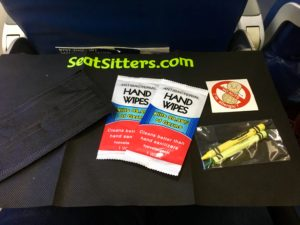 Sick While Traveling tray table cover, wipes, seat sitters