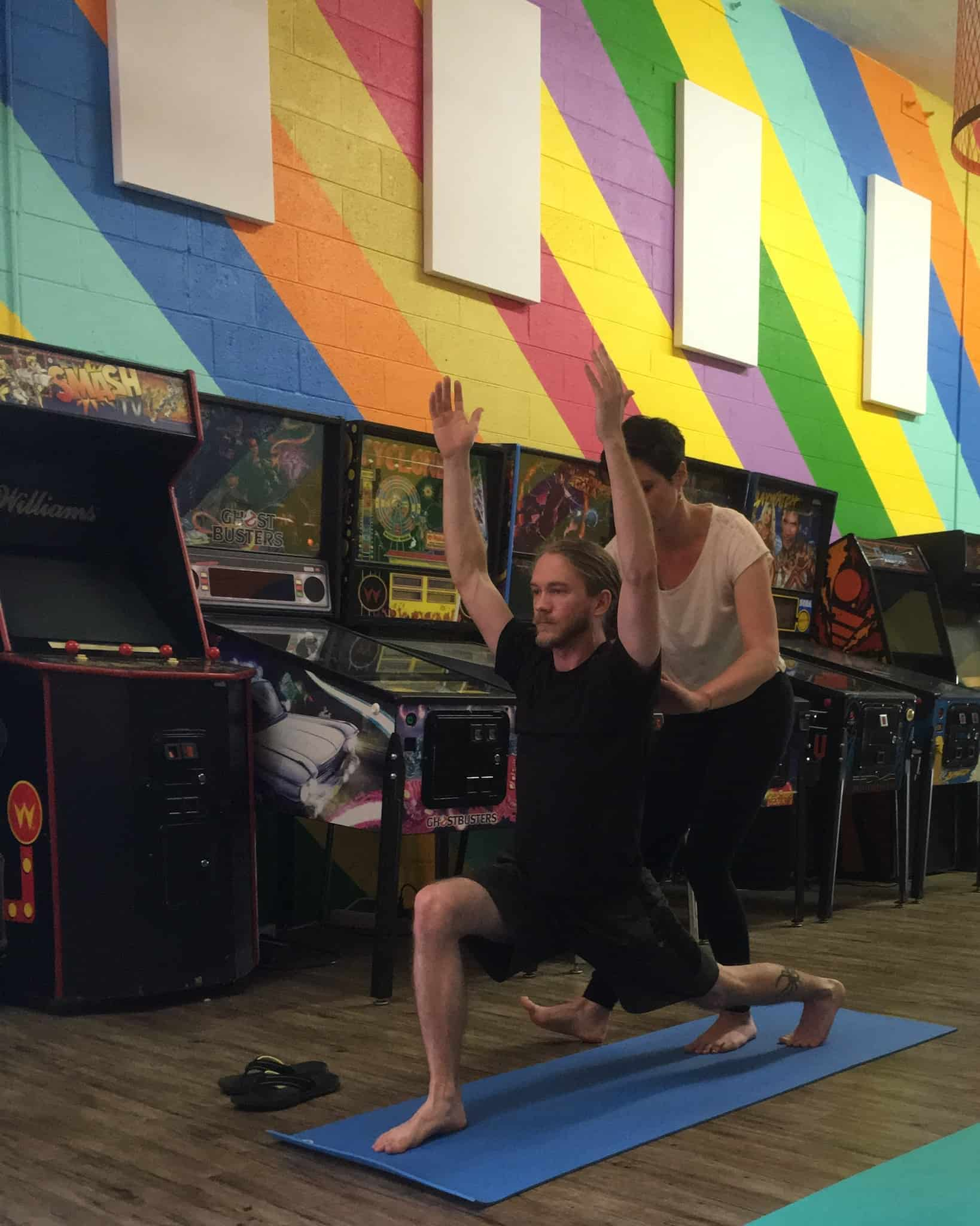 man in yoga pose workout at Beer Study Durham