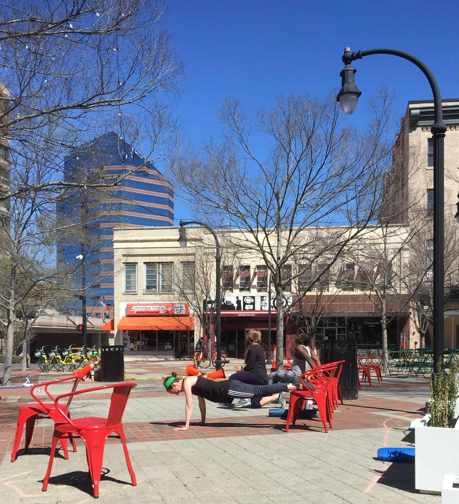 workout, push ups at Durham Bull plaza