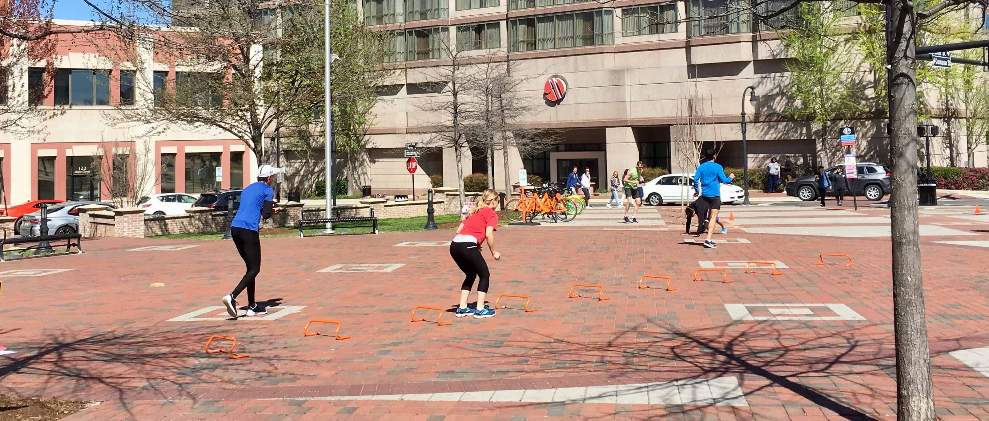 group workout at Durham Bull plaza