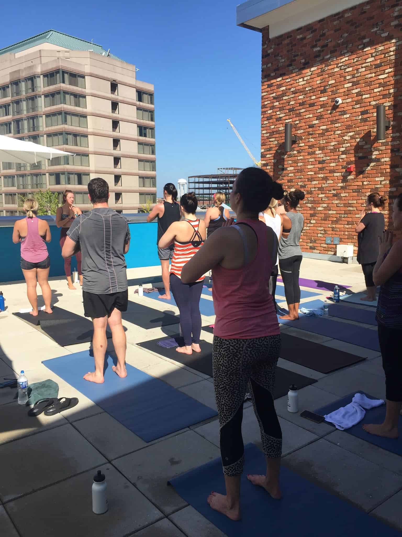 workout group on The Patio, Unscripted Hotel, Durham