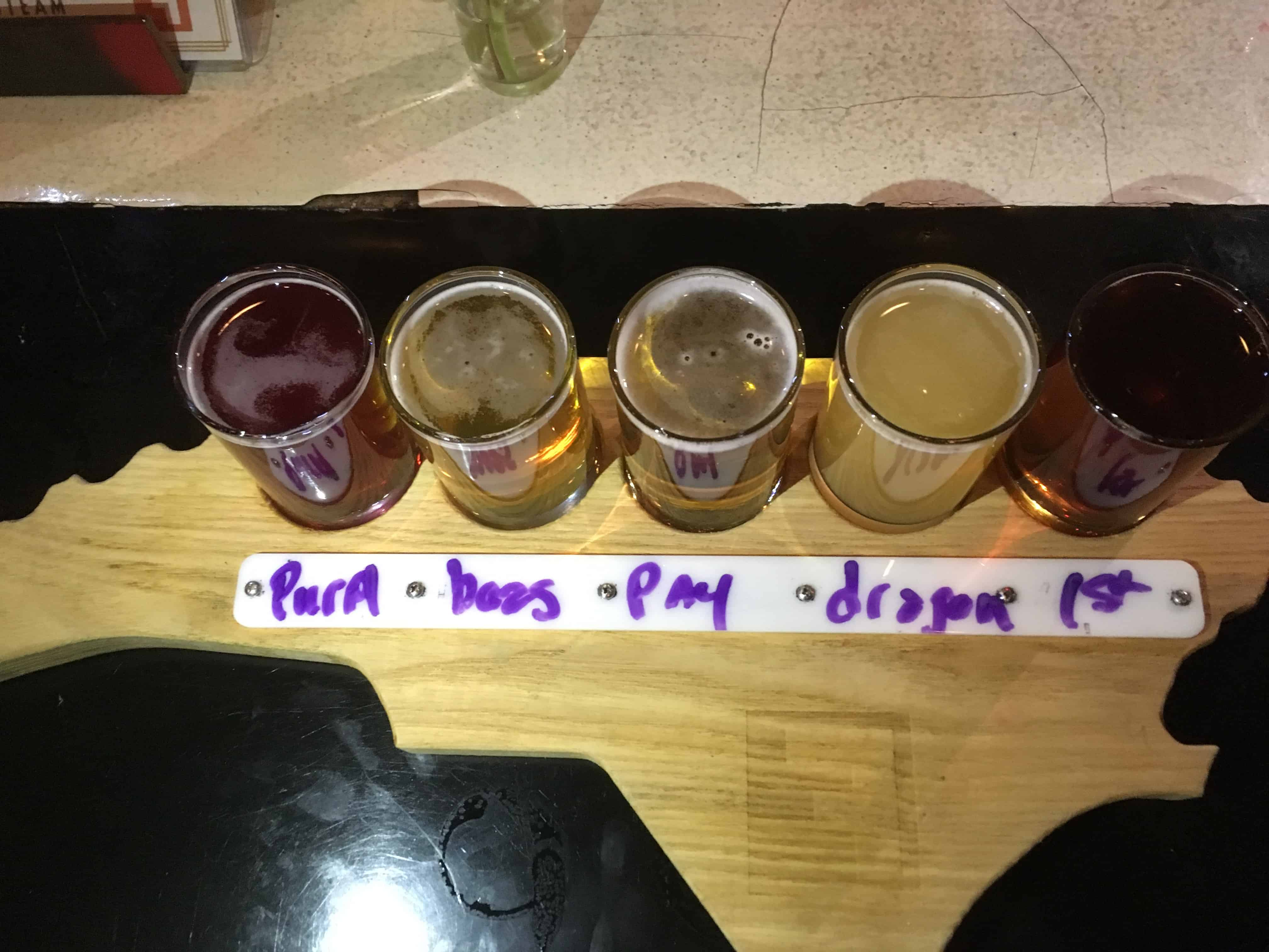Fullsteam flight of beer on NC shaped board