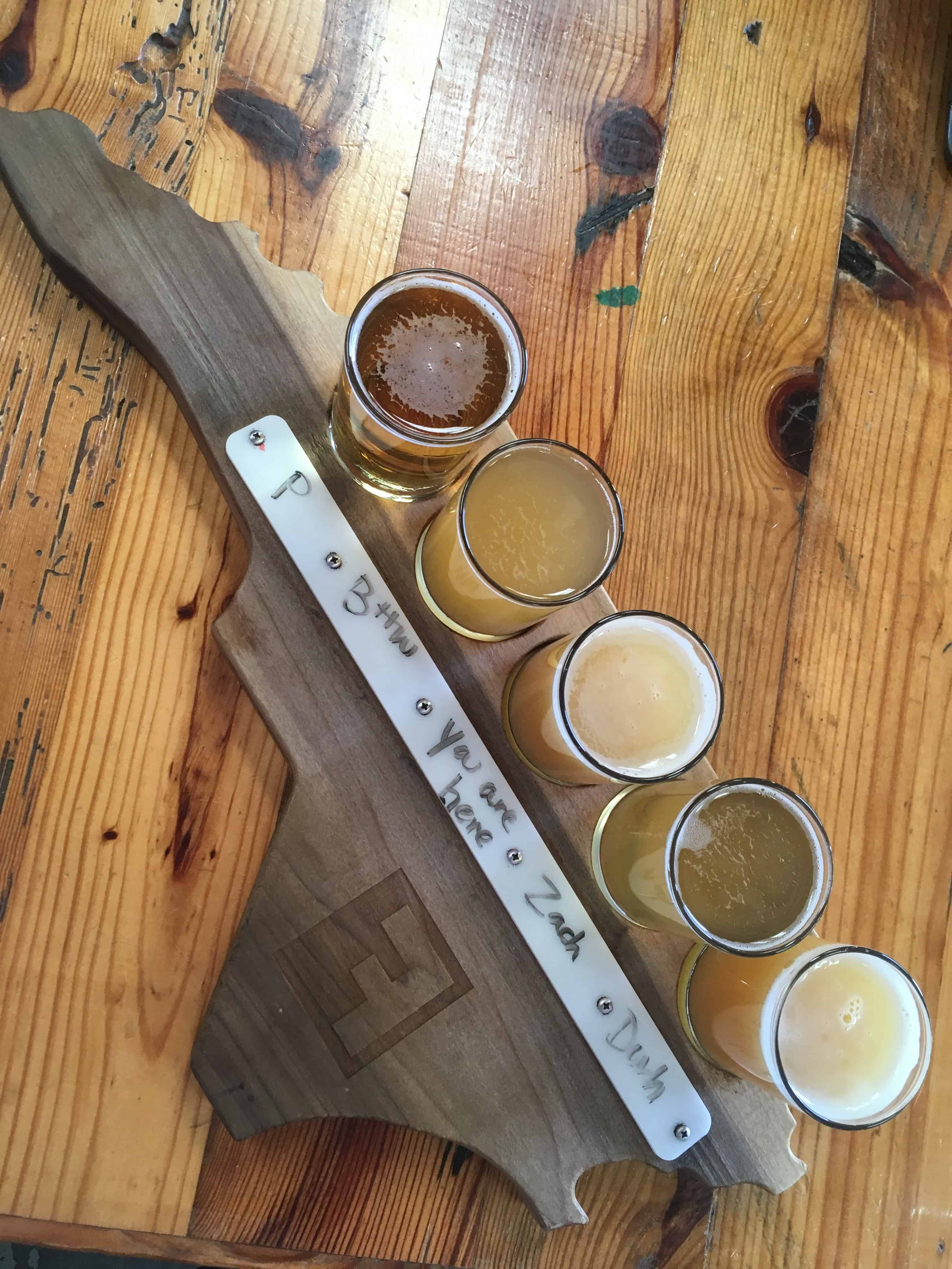 Fullsteam flight of beers on North Carolina board