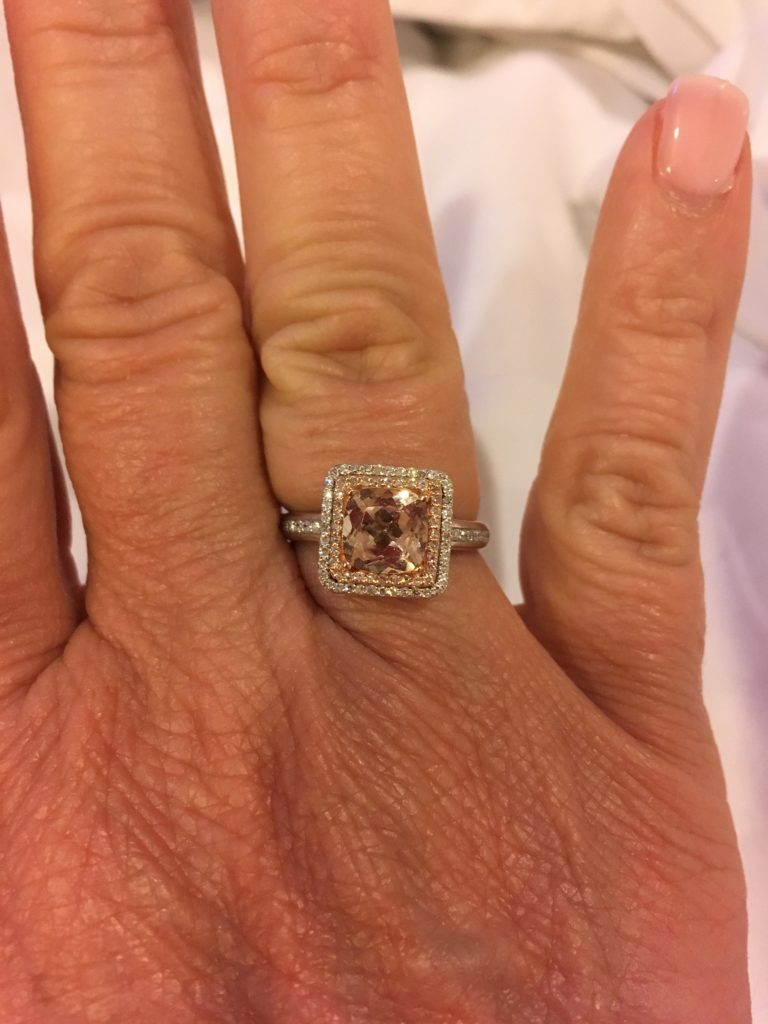 The Best Things to Do in St Kitts During a Port Day featured by top travel blog, The Common Traveler: morganite ring on woman's finger