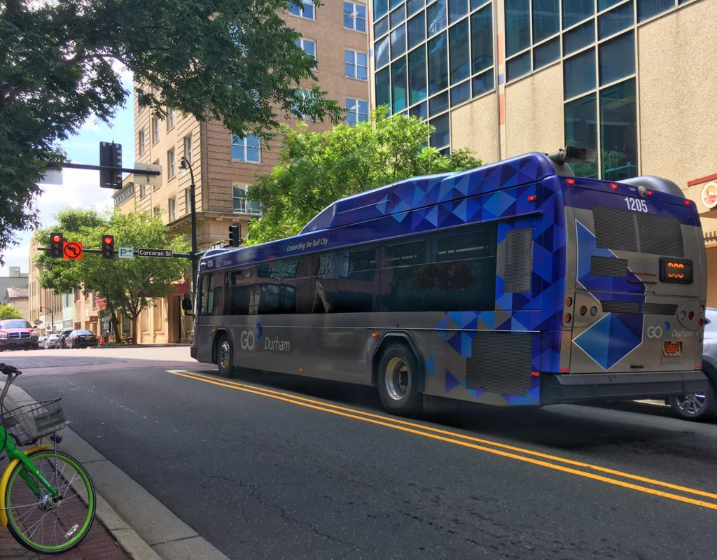 Go Durham bus (blue and gray)