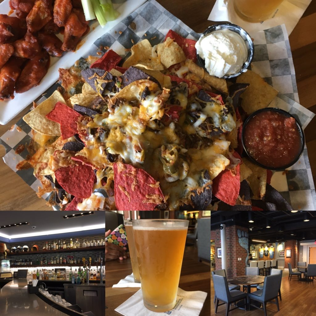 collage of nachos and photos of Sports Bar at Rizzo Center