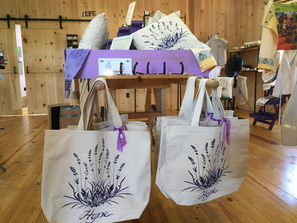 lavender farm store with items with lavender decorations and items