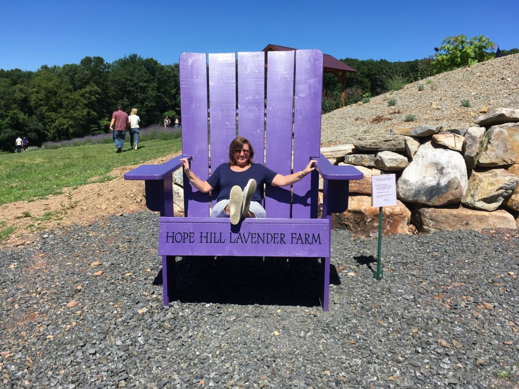 "lavender farm woman sitting in huge purple chair that says ""Hope Hill Lavender Farm"""