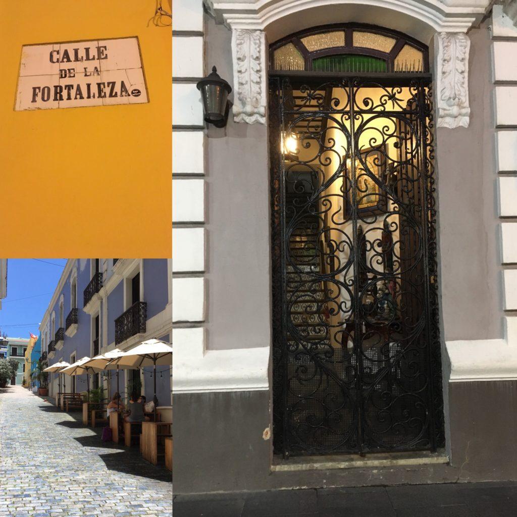 Old San Juan Calle de la Fortaleza street sign, cobblestone street, intricate metal door
