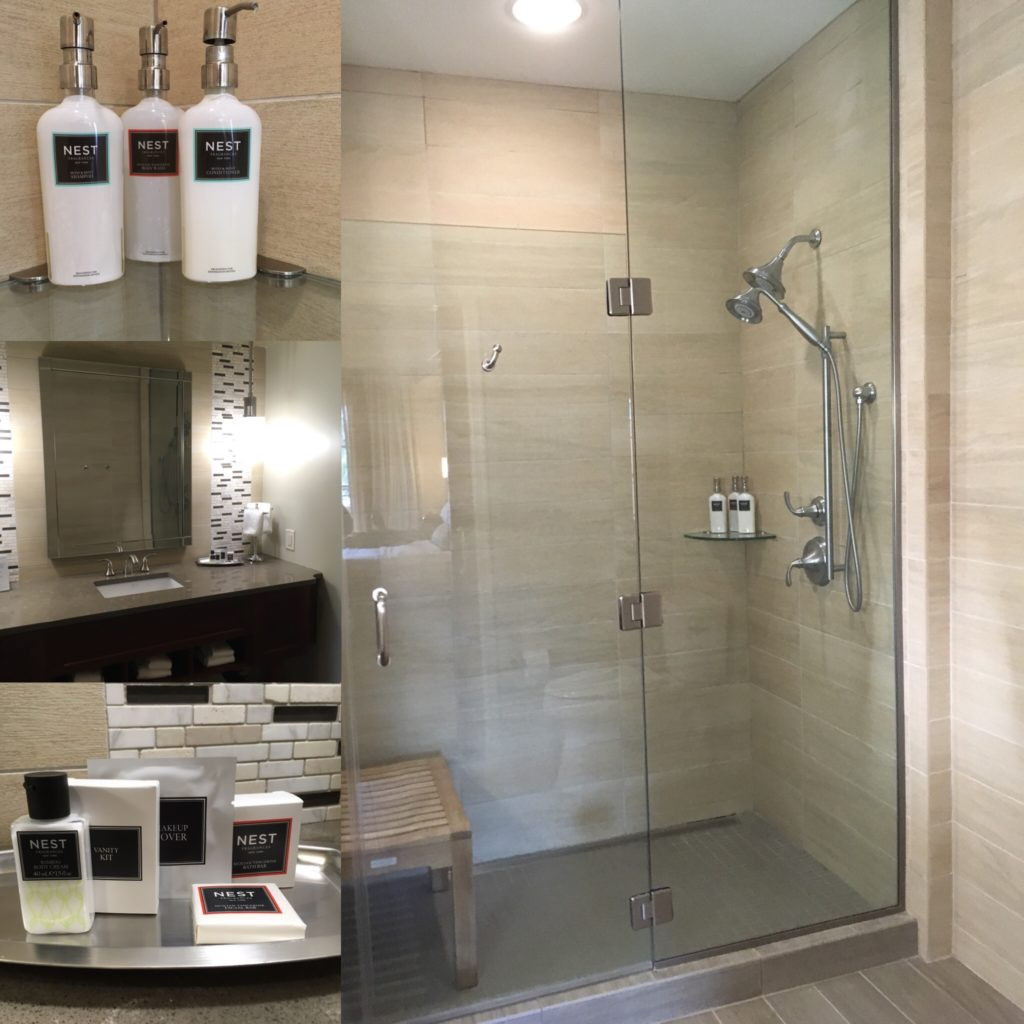 collage of toiletries and shower in Rizzo Center suite