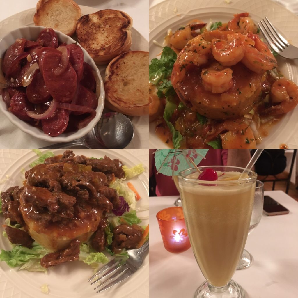 Old San Juan photos of 3 dishes - chorizo, shrimp and steak mofongo, and a pina colada