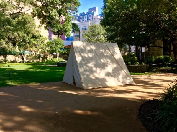 tent in park on Alamo grounds