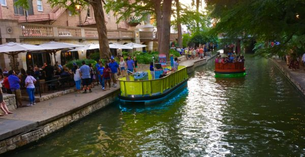 open boat on San Antonio River Walk