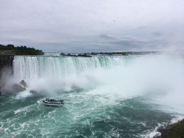 Day Trip to Niagara Falls - US and Canadian Sides featured by top travel blog, The Common Traveler: itinerary boat in front of Horseshoe Falls in Niagara