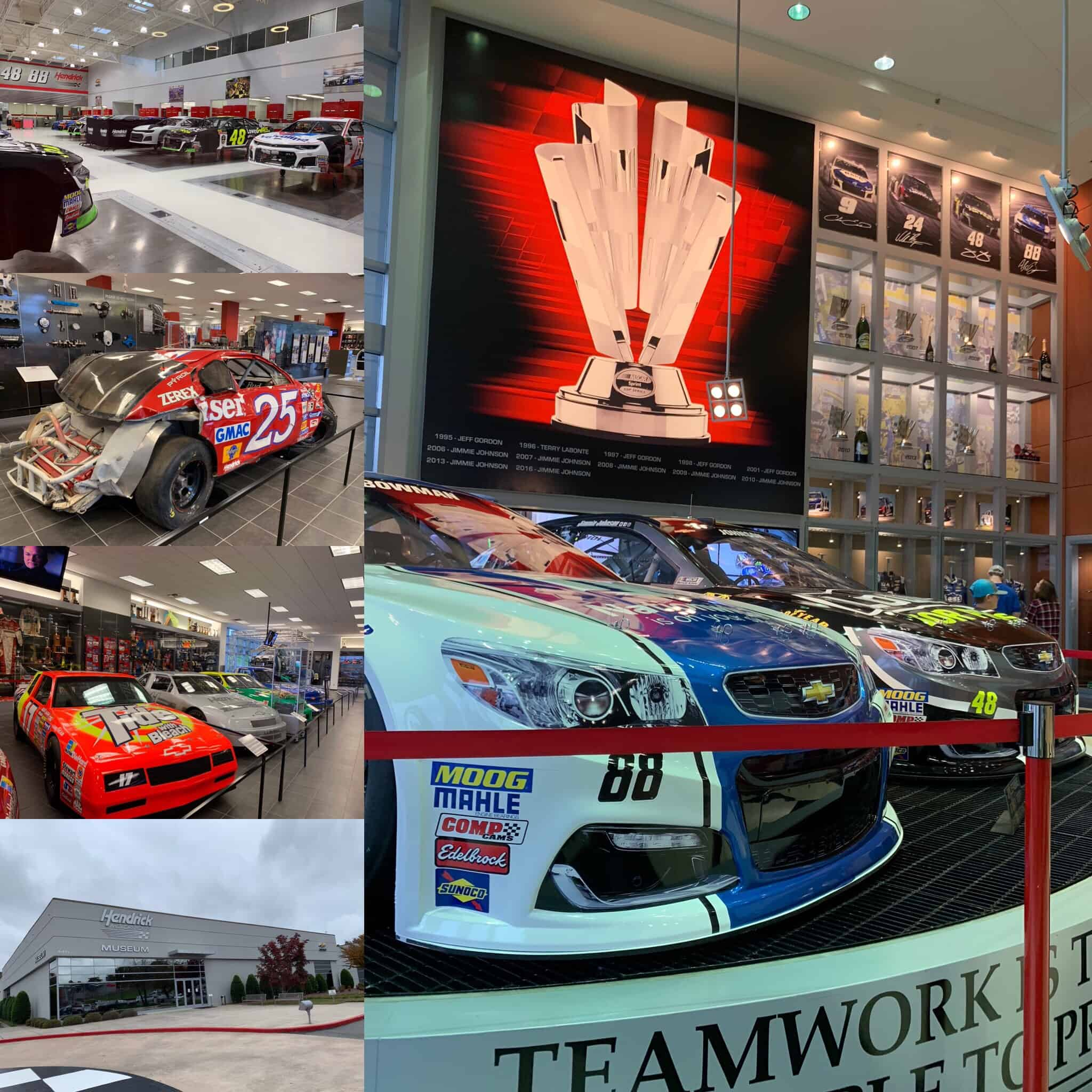 The best things to do in Concord NC in a weekend featured by top travel blog, The Common Traveler: collage of photos with race cars from Hendrick Motor Sports in Concord, NC