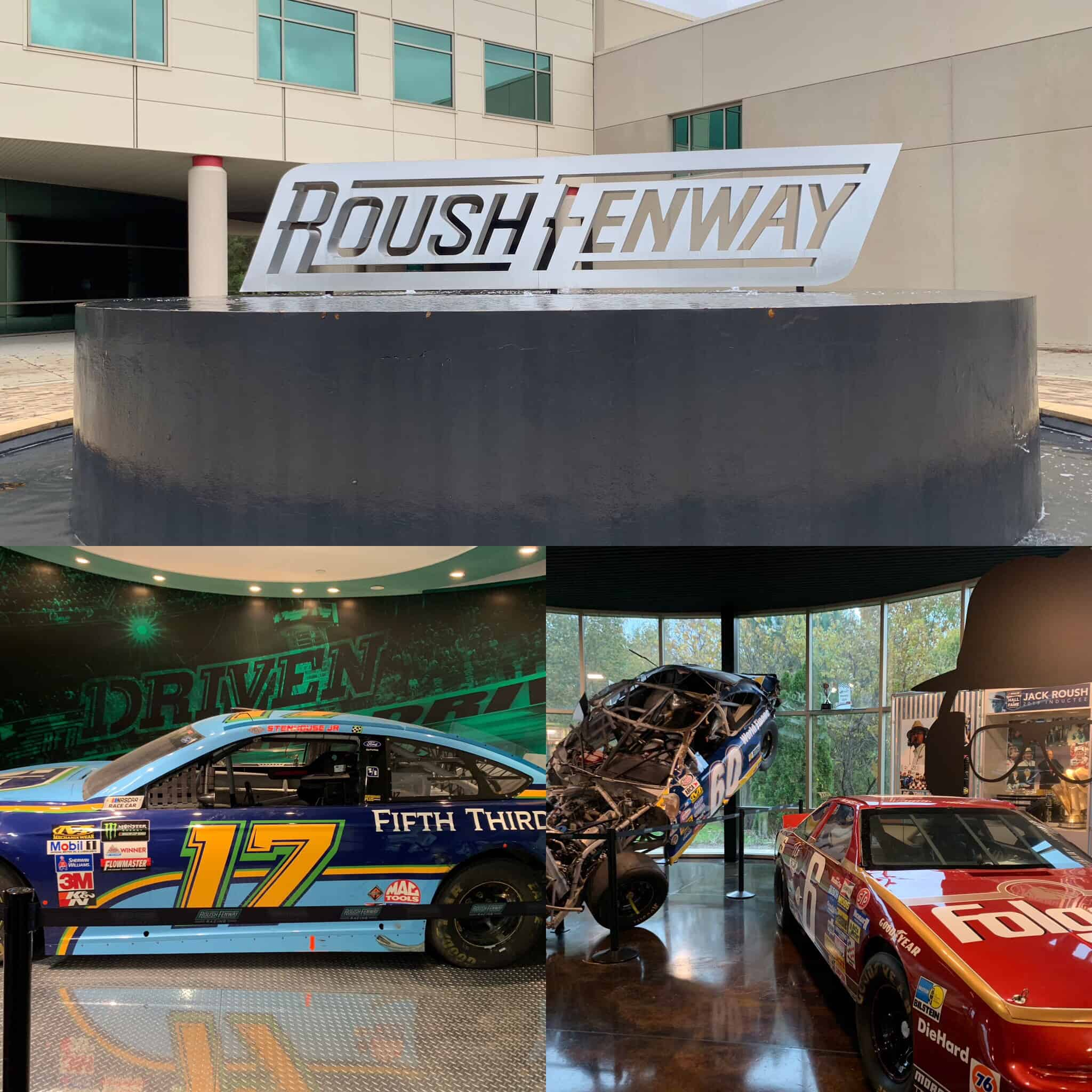 The best things to do in Concord NC in a weekend featured by top travel blog, The Common Traveler: collage of photos of race cars at Roush Fenway in Concord, NC