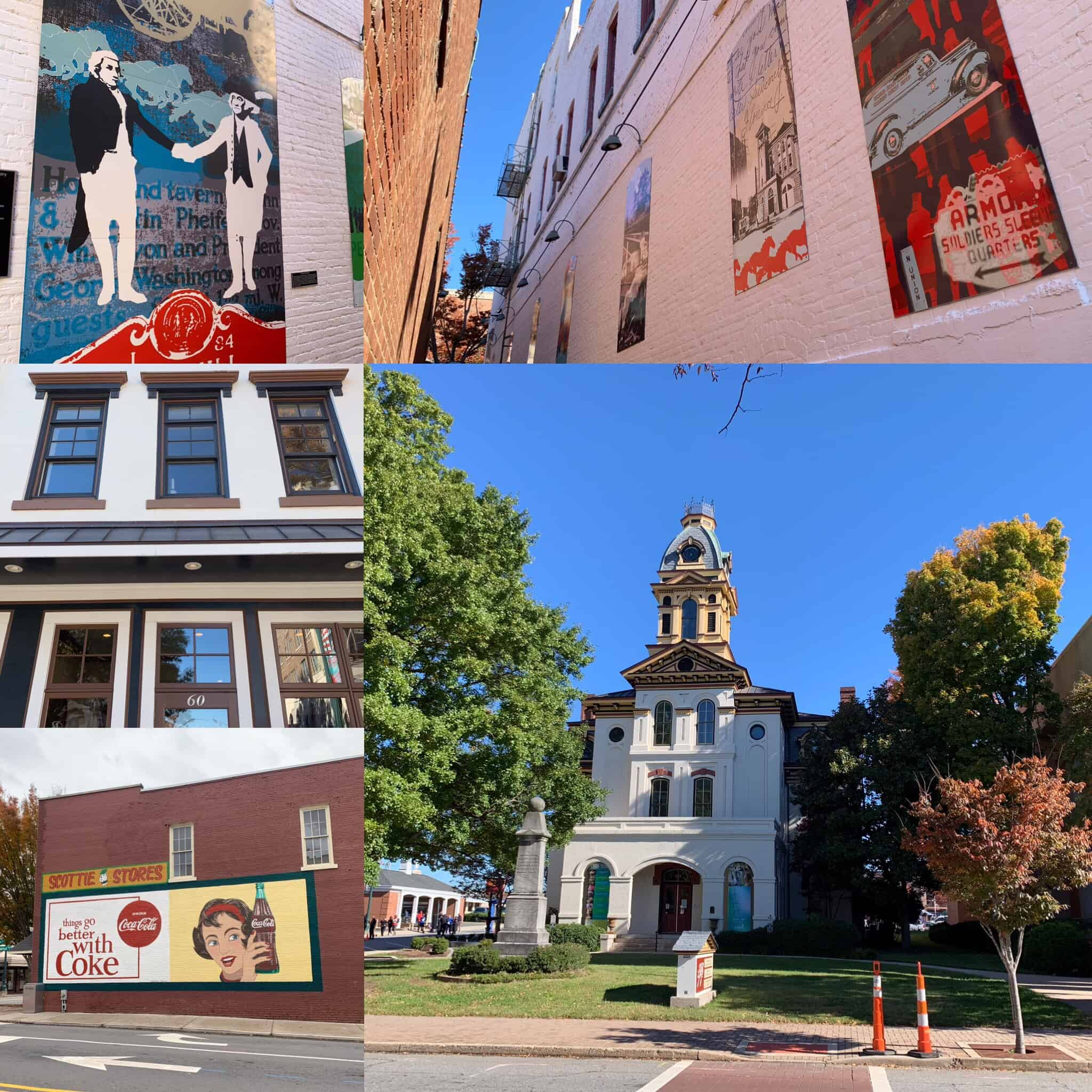 The best things to do in Concord NC in a weekend featured by top travel blog, The Common Traveler: collage of photos of historic downtown Concord, NC