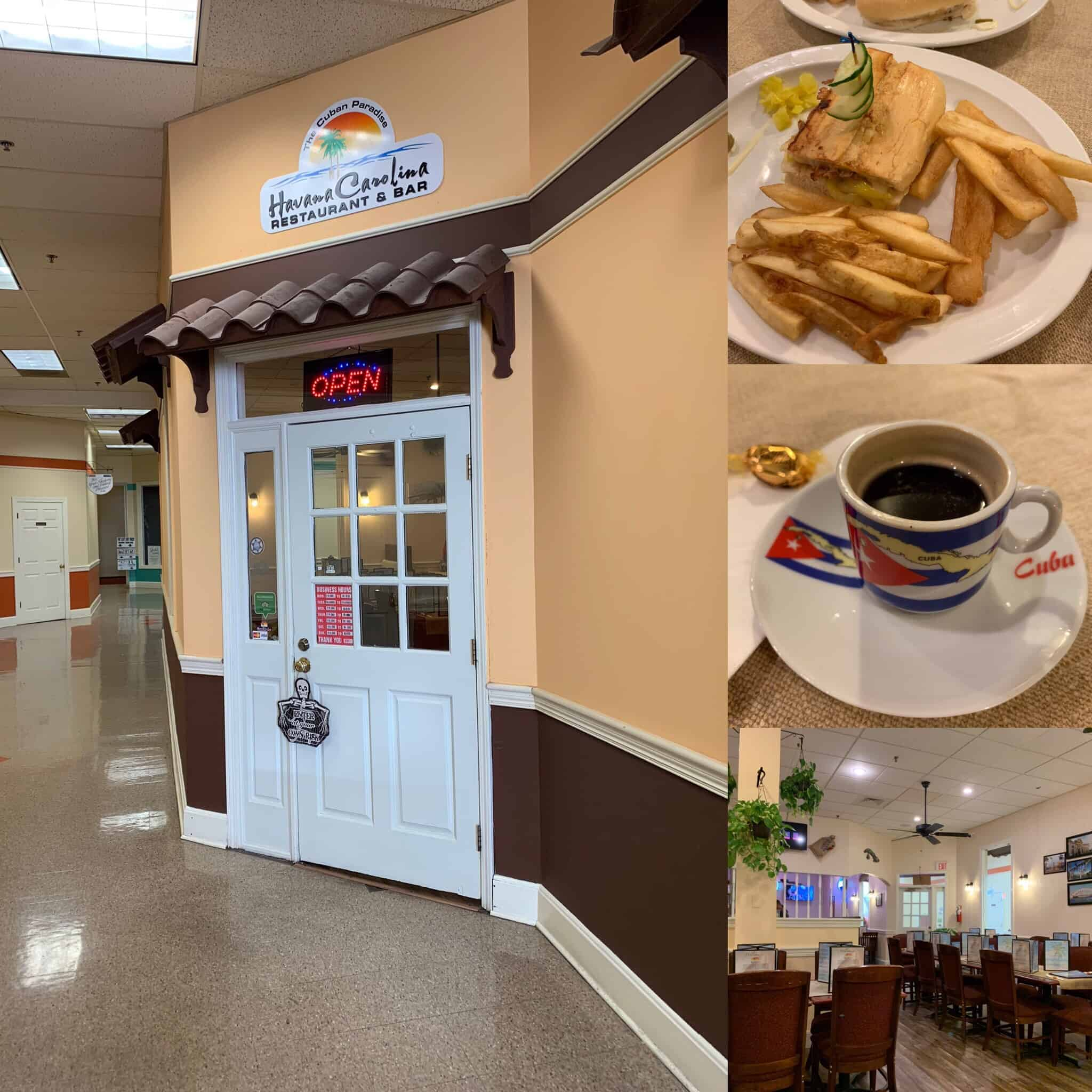 The best things to do in Concord NC in a weekend featured by top travel blog, The Common Traveler: collage of photos of Cuban restaurant , coffee and sandwich at Havana Carolina in Concord, NC