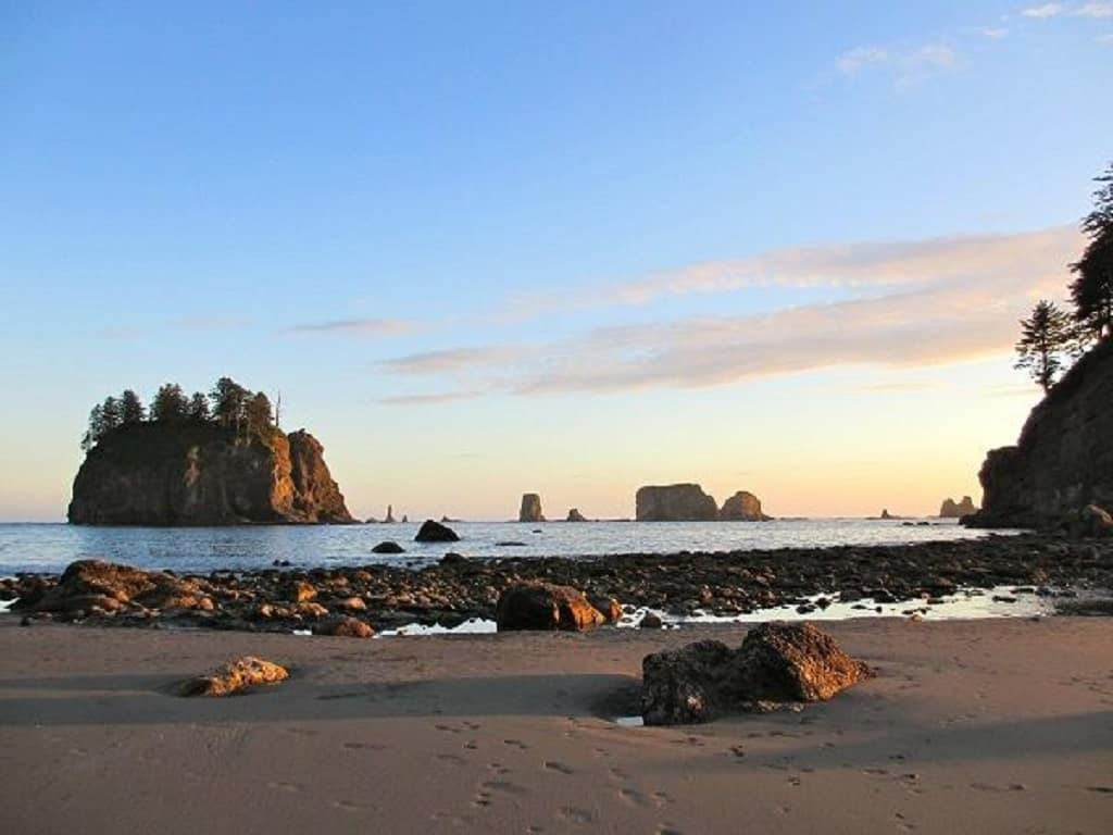 sunset over the sea stacks at Second Beach, La Push, Washington.
