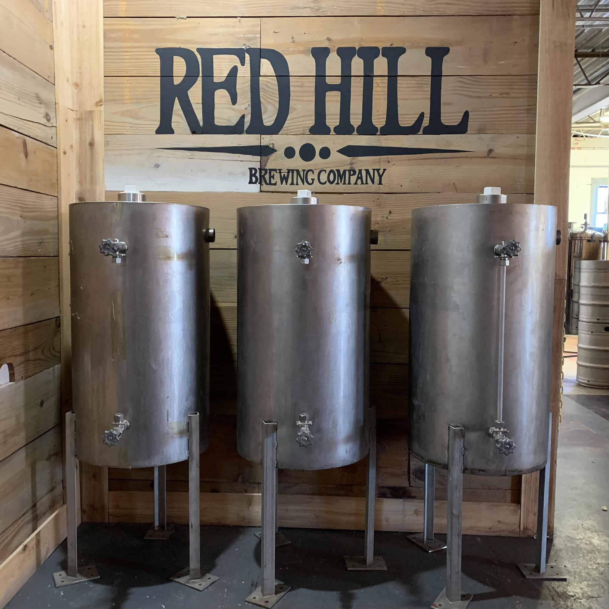 old brewing barrels at Red Hill Brewing