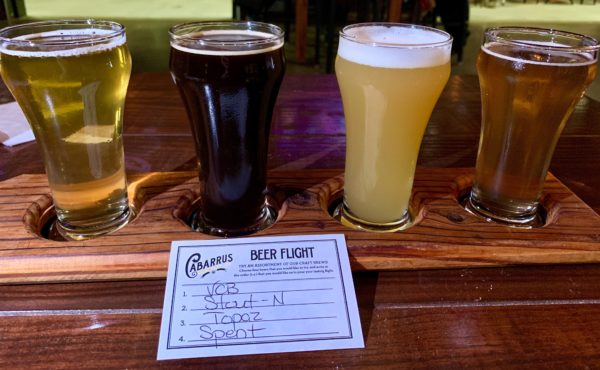 beer flight of 4 beers - Cabarrus Brewing Company, Concord, NC