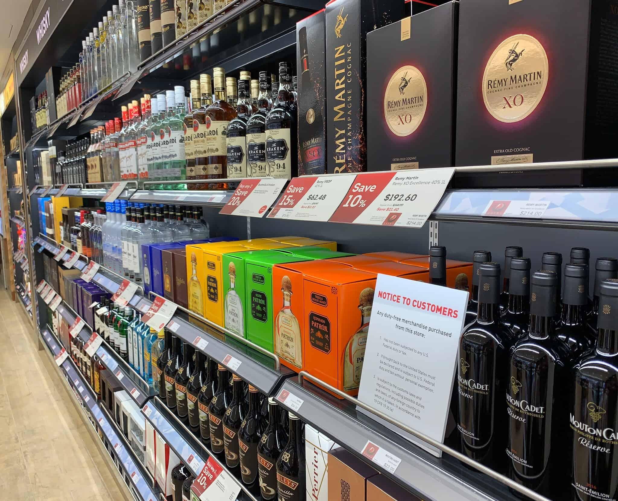 duty free bottles on shelf
