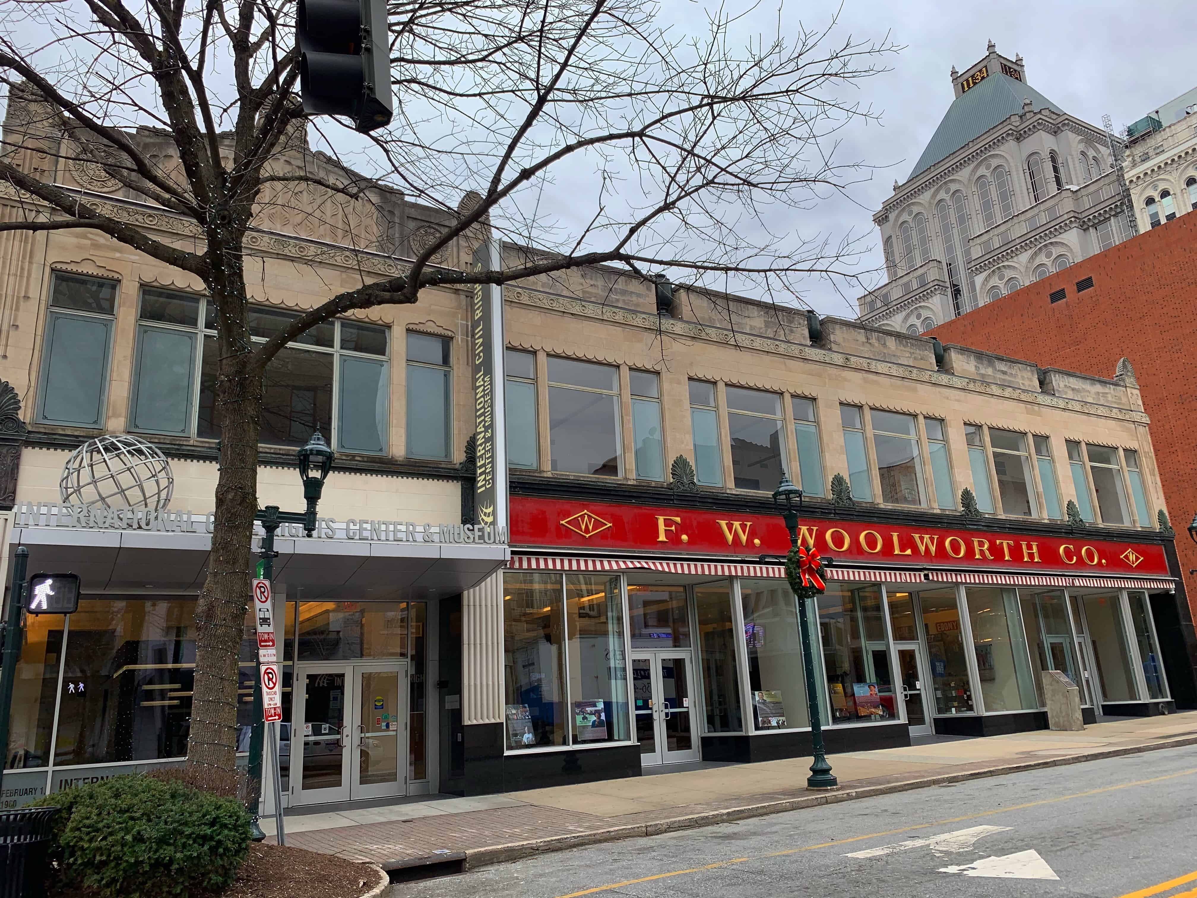 front building with International Civil Rights Center & Museum and Woolworth
