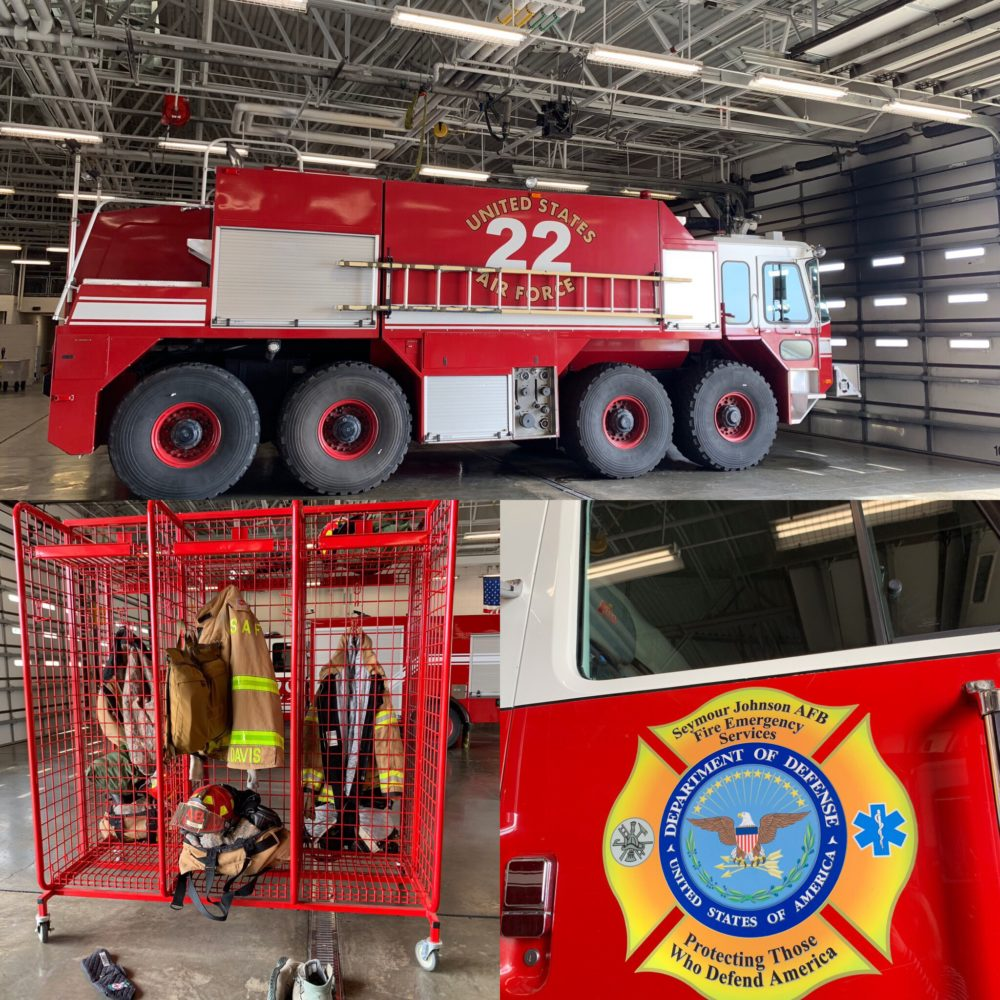 Fire department truck, locker and emblem for Seymour Johnson AFB