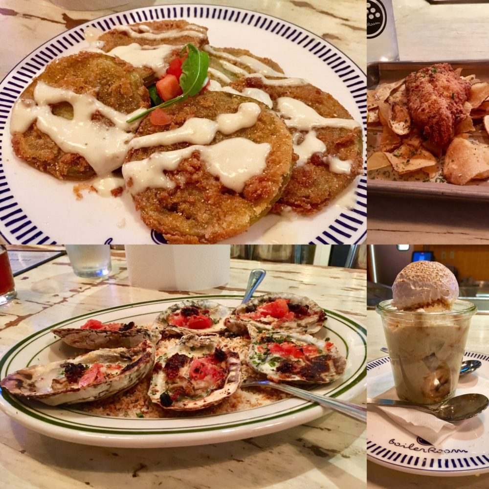 four dishes from The Boiler Room in Kinston - fried green tomatoes, oysters, banana pudding
