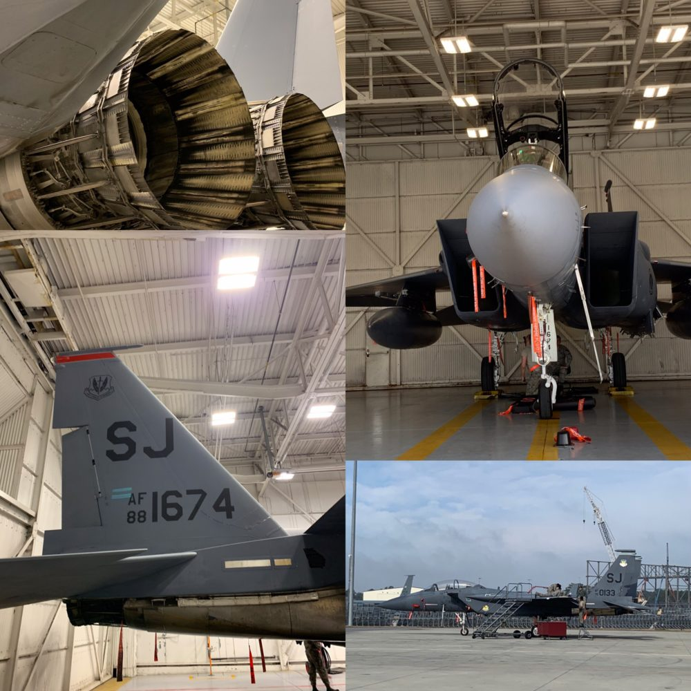 4 photos of parts of a jet plane at Seymour Johnson AFB
