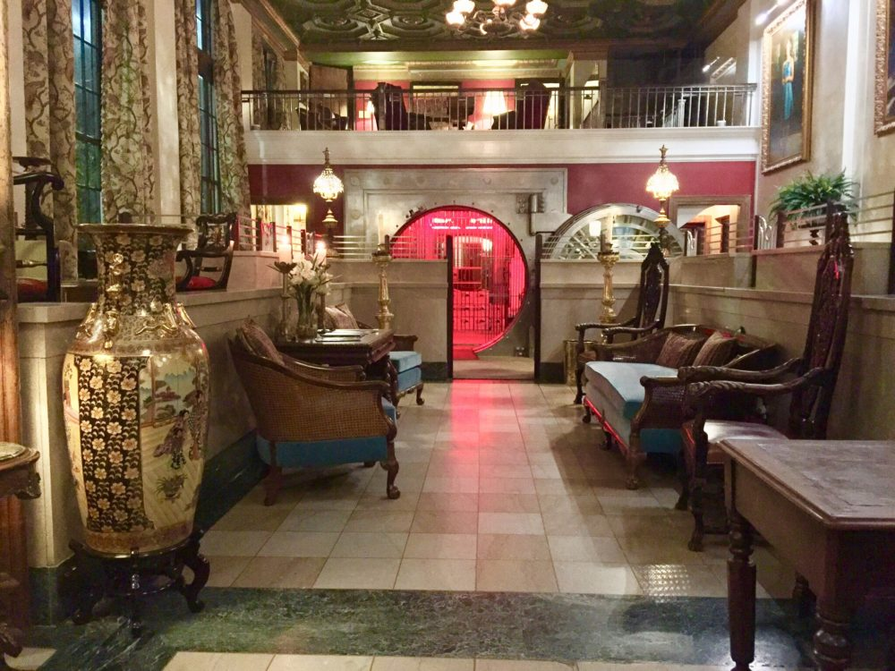 inside lobby of transformed bank into hotel lobby