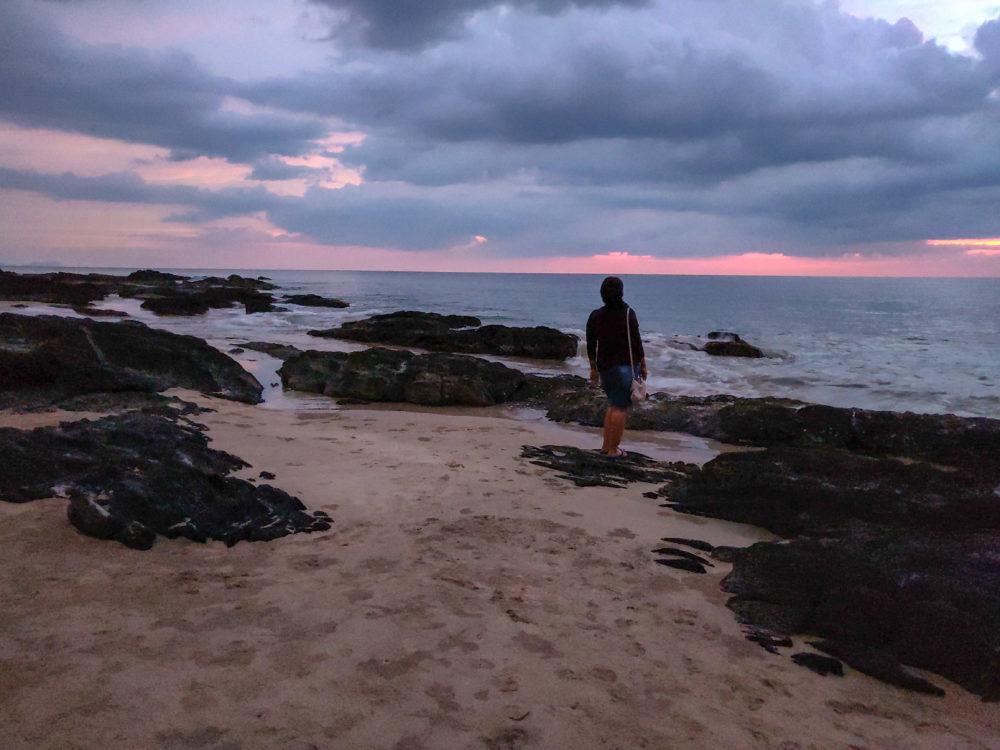 woman on beach at Koh Lanta at sunset
