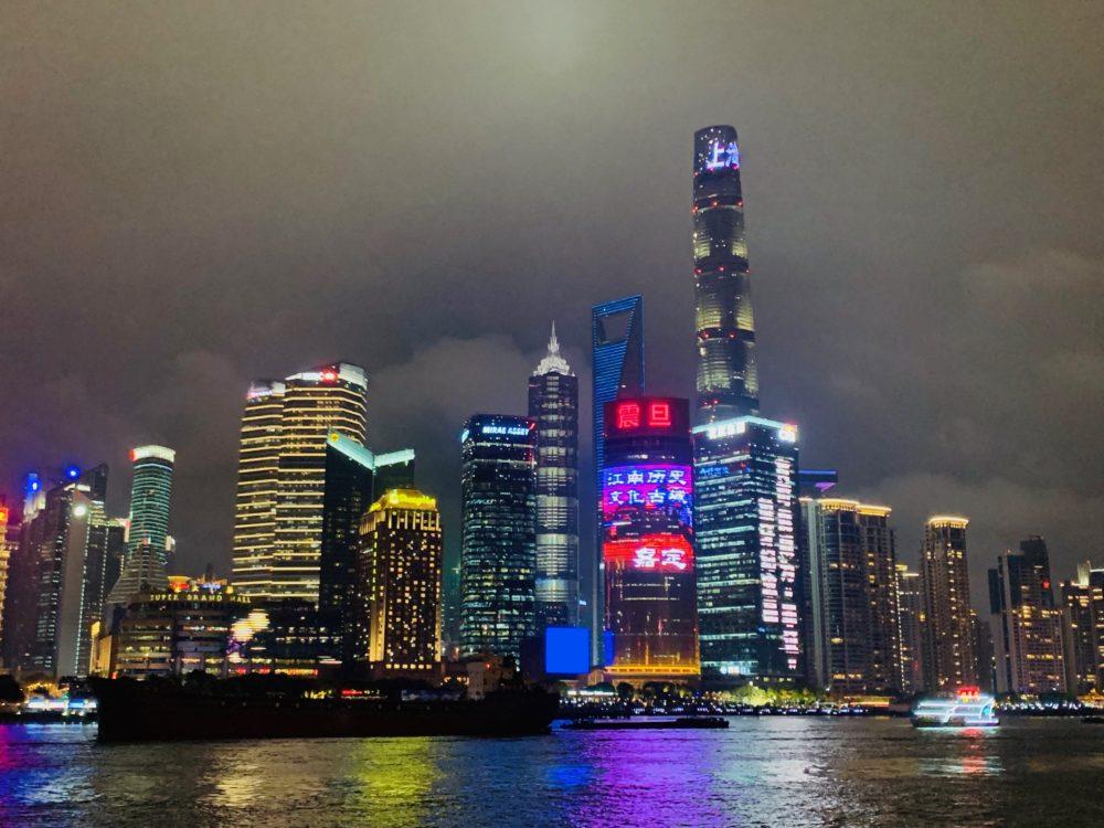 Shanghai skyline reflected onto river