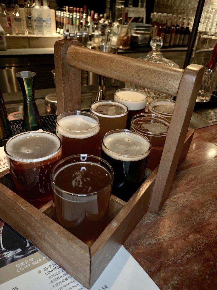 flight of beer glasses from Hangzhou's Midtown Brewery