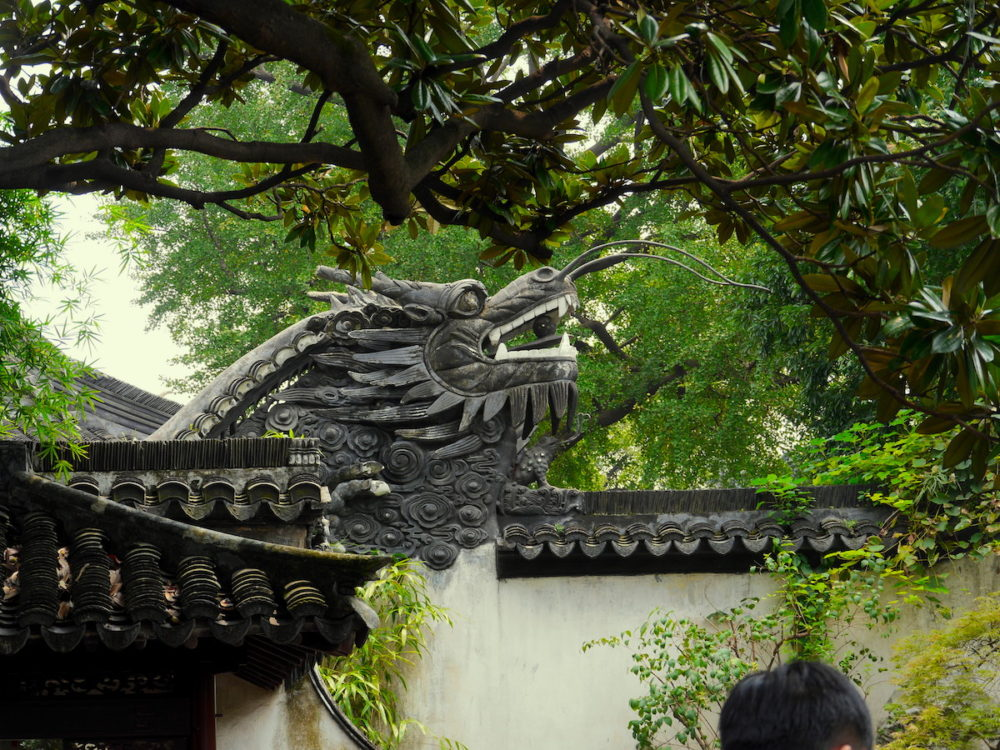 dragon statue on wall