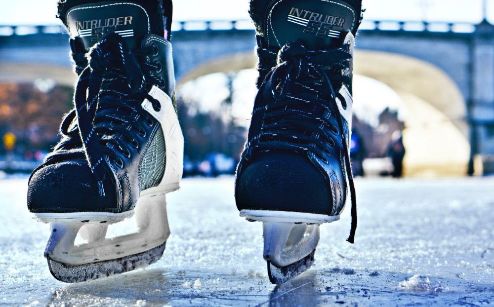 ice skates on frozen river