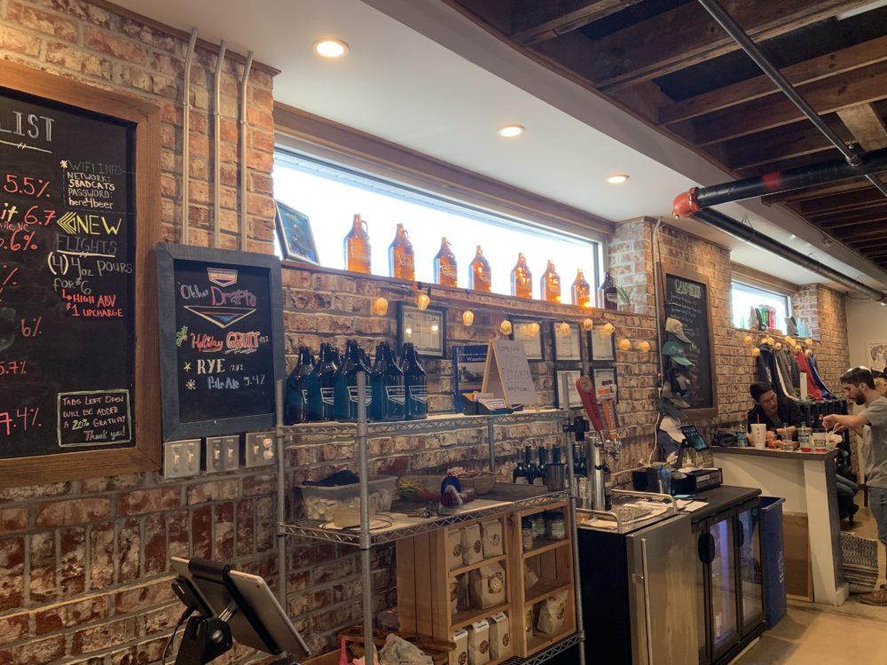 beer taps at Waterline Brewing