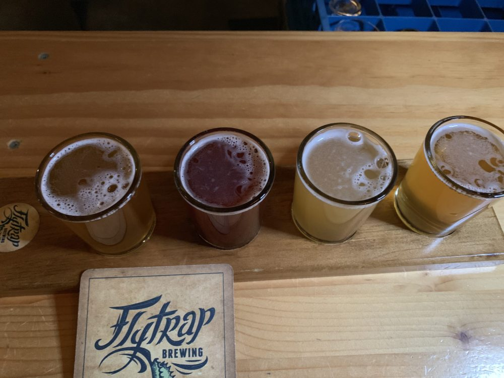 flight of 4 beers at Flytrap Brewing