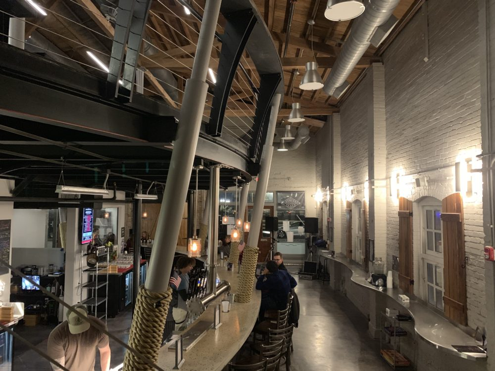 ship shaped bar inside Edward Teach Brewing