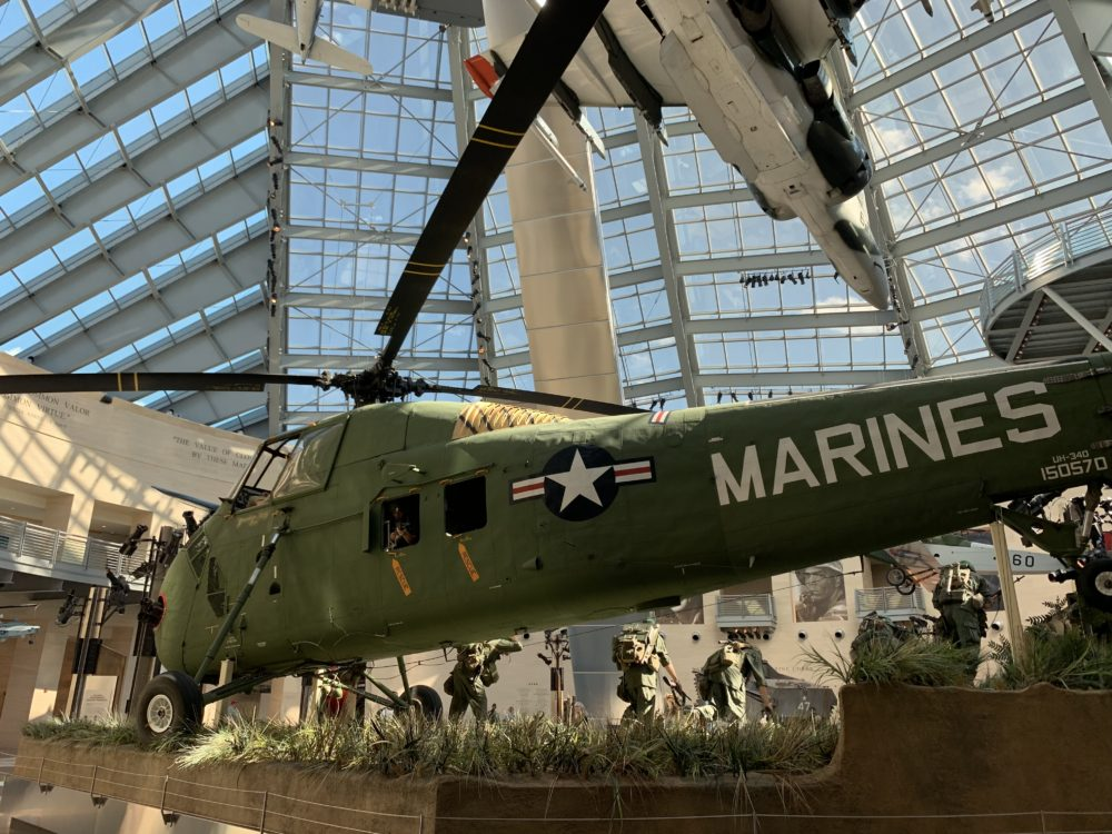 helicopter display inside Marine Corps Museum