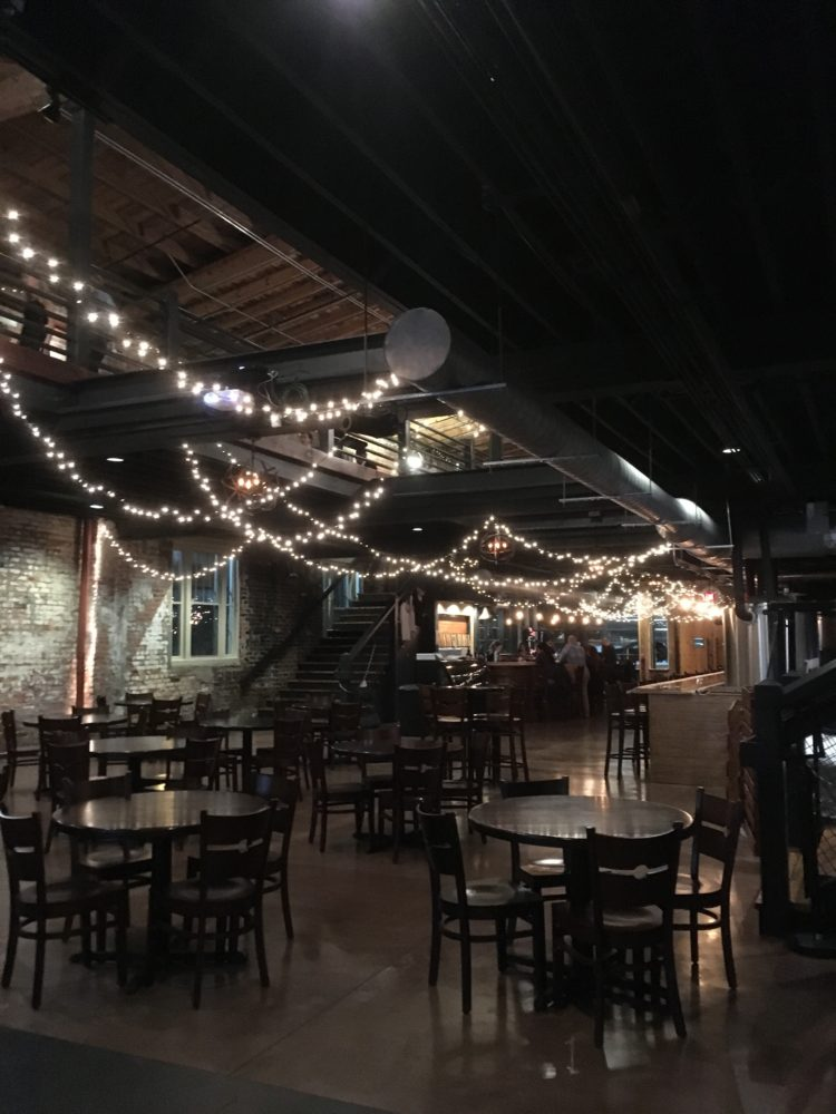 string lights inside Ironclad Brewing